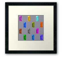 Phone booth on lilac grey background Framed Print
