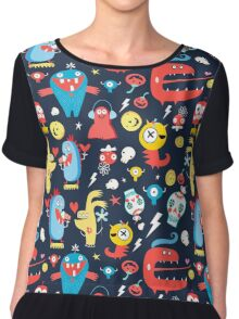 Seamless jolly pattern with monsters Women's Chiffon Top