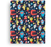 Seamless jolly pattern with monsters Canvas Print