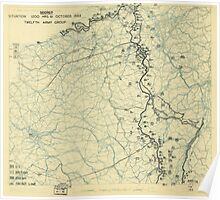 World War II Twelfth Army Group Situation Map October 31 1944 Poster