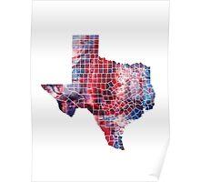 Texas Watercolor Map Poster