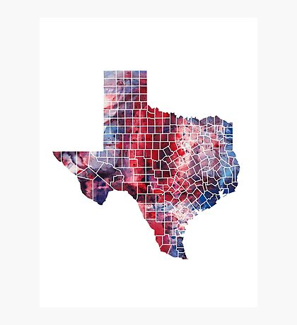 Texas Watercolor Map Photographic Print