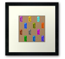 Phone booth on iced coffee background Framed Print
