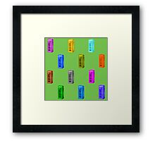 Phone booth on green flash background Framed Print
