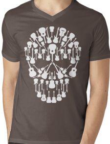 Black and White Music Guitars Skull Mens V-Neck T-Shirt