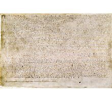 Magna Carta Exemplification of 1215 Cotton MS Augustus II Photographic Print