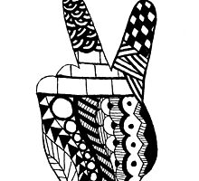 Zentangle Peace Hand by LittleMisfitMe