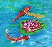 Orange Koi by Linda Ginn Art