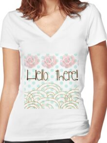 """hello there"",typography,gold,glitter,glam,pink flowers,water color Women's Fitted V-Neck T-Shirt"