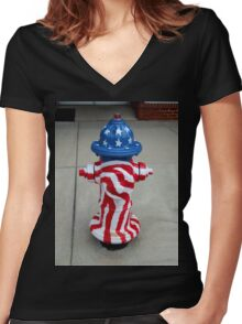 Patriotic Firehydrant I Women's Fitted V-Neck T-Shirt