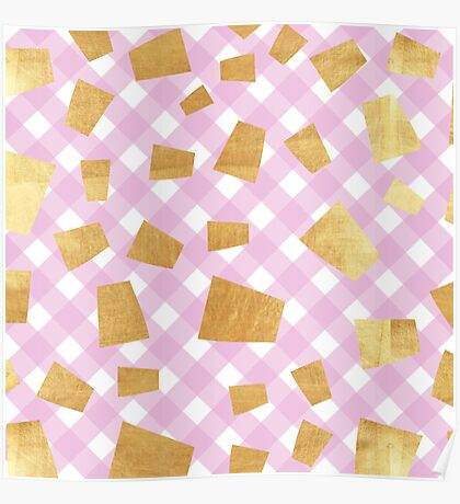 Gold flakes,diagonal plaid pattern,pink,white,cute,girly,abstract Poster
