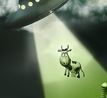 Comical Cow Abduction by mdkgraphics