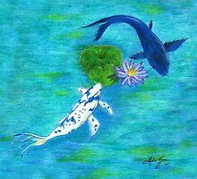 Blue Koi by Linda Ginn Art