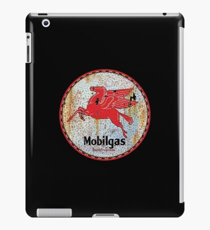 Vintage Mobil Gas and Oil sign rusty as heck. iPad Case/Skin
