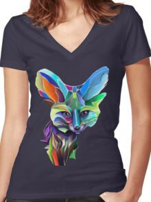 Kaleidoscope Fox; geometric poetry  Women's Fitted V-Neck T-Shirt
