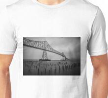 The Astoria–Megler Bridge, Astoria, Oregon.  In Black and White Unisex T-Shirt