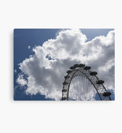 Silver, Blue and White - the London Eye Against Dramatic Sky Canvas Print