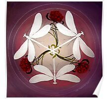 Dragonfly Kiss Mandala by Marg Thomson Poster