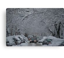 Montreal streest after a snowstorm Canvas Print