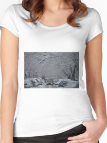 Montreal streest after a snowstorm Women's Fitted Scoop T-Shirt