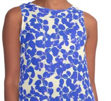 Blue Floral on Vanilla Background Contrast Tank