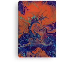 Abstract in green, blue and orange Canvas Print