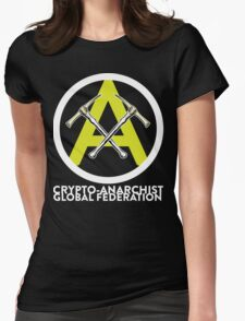 Crypto Anarchist Bitcoin Currency Litecoin Peercoin Dogecoin Ethereum  Womens Fitted T-Shirt