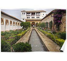 Patio de la Acequia, Alhambra Generalife, Granada, Andalucia, Spain Poster