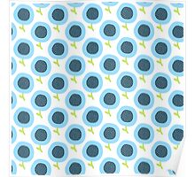 Simple kids flower pattern. Doodle seamless background. Cute blue wallpaper. Poster