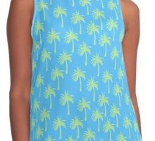 Green Palm Trees on Blue Contrast Tank