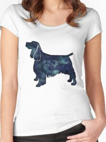 Springer Spaniel Dog Black Watercolor Silhouette Women's Fitted Scoop T-Shirt