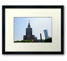 Stalinist and American architecture in Warsaw, Poland Framed Print