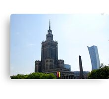 Stalinist and American architecture in Warsaw, Poland Canvas Print
