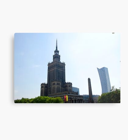 Stalinist and American architecture in Warsaw, Poland Metal Print