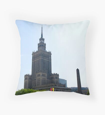 Stalinist and American architecture in Warsaw, Poland Throw Pillow