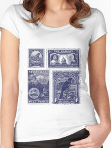 Four old New Zealand stamps Women's Fitted Scoop T-Shirt