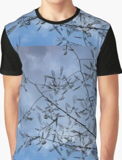 Graceful Lace in the Sky - Mimosa Leaves and Buds Against Dusk Clouds - Horizontal View Upwards Right Graphic T-Shirt