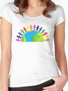 Kids/People United On Earth Women's Fitted Scoop T-Shirt