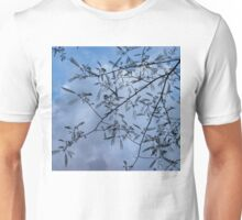 Graceful Lace in the Sky - Mimosa Leaves and Buds Against Dusk Clouds - Horizontal View Downwards Right Unisex T-Shirt