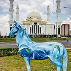 Blue Horse White Mosque in Astana Kazakhstan by Kadwell
