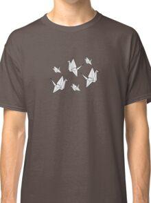 Paper cranes, blue background Classic T-Shirt