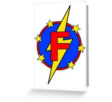My Cute Little Super Hero - Letter F Greeting Card