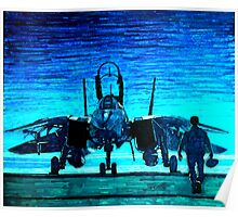 moonlight mission-an f14 tomcat fighter pilot walks to his plane Poster