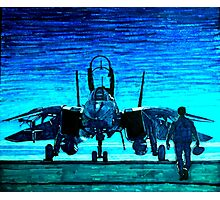moonlight mission-an f14 tomcat fighter pilot walks to his plane Photographic Print