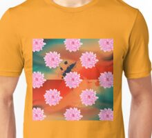 Pink Dahlias in the Rain Unisex T-Shirt