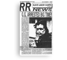 GG Allin Newspaper Arrested Canvas Print