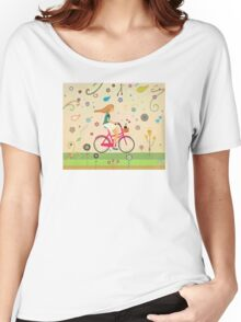 Bicycle Ride - Girl - Cat Women's Relaxed Fit T-Shirt