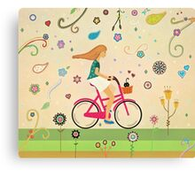 Bicycle Ride - Girl - Cat Canvas Print