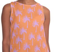 Bright Orange with Lavender Palm Trees Contrast Tank