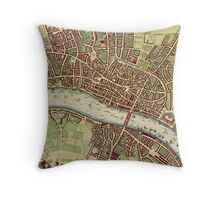Vintage Map of London England (16th Century) Throw Pillow